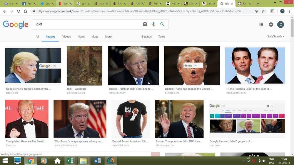 چرا وقتی کلمه احمق را سرچ می کنیم عکس ترامپ ظاهر می گردد؟
