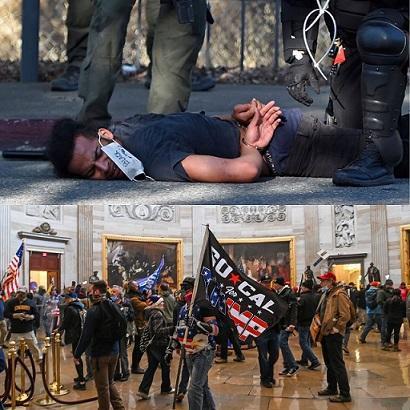 تفاوت واکنش پلیس آمریکا به شورش کنگره و مخالفان تبعیض نژادی